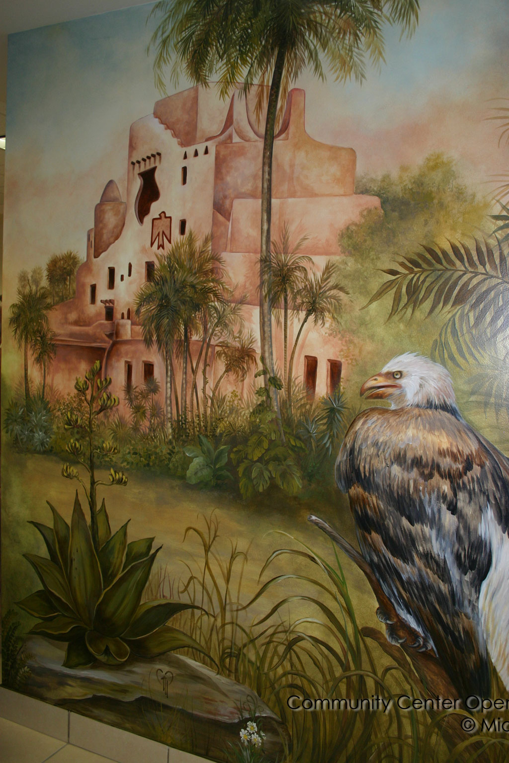 Mural of Fair Havens with a Bald Eagle in front