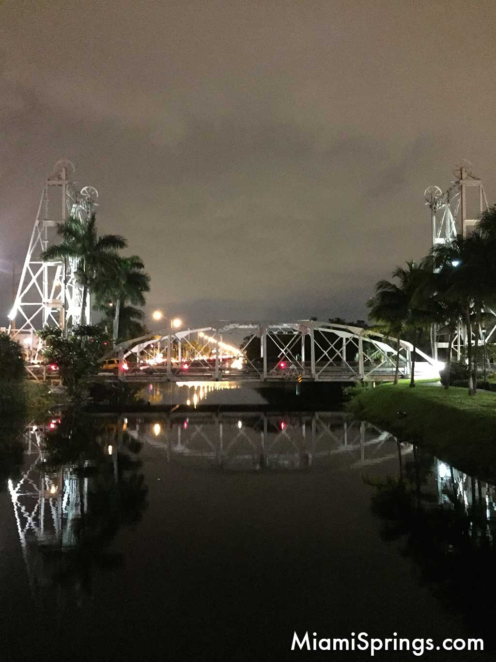 Night view of Miami Springs bridges