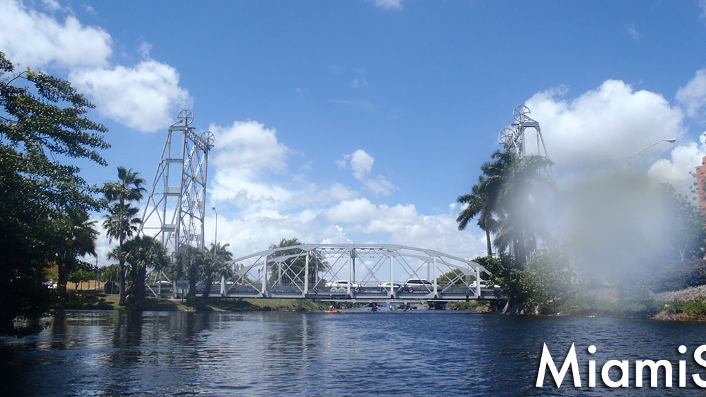 View of the Miami Springs Lift Bridge from the Miami River